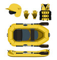 rafting equipment and protective gear icon vector image