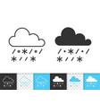 rain with snow simple black line icon vector image