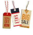 realistic tags in vintage style vector image vector image