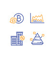 refresh bitcoin trade chart and loan house icons vector image vector image