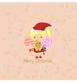 Santa Girl Claus for christmas card vector image vector image