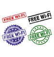 scratched textured free wi-fi seal stamps vector image vector image