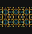 seamless floral pattern in gold and blue tint vector image