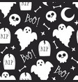seamless halloween pattern with skull and ghost vector image