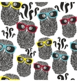 Seamless party pattern with happy owls in vector image vector image