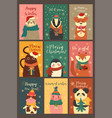 set cute cards with animals in a christmas mood vector image