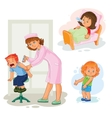 Set icons little girl sick vector image vector image
