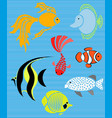 set isolated fish flat design fish aquarium vector image vector image