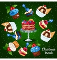 Set of desserts for the Christmas time 10 icons vector image vector image