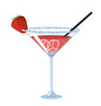 strawberry daiquiri cocktail isolate on white vector image