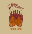 summer camp wild life vintage design with vector image vector image