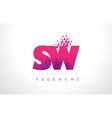 sw s w letter logo with pink purple color and vector image vector image