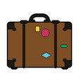travel suitcase with stickers icon image vector image vector image