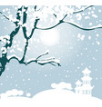 winter landscape with tree and chinese pagoda vector image vector image