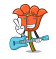 with guitar poppy flower mascot cartoon vector image