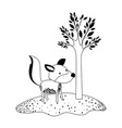 wolf cartoon next to the tree in black dotted vector image