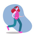 woman in headphones running and listening music vector image