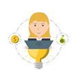 woman project to financial business support vector image vector image