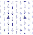 xmas trees hand drawn seamless pattern vector image vector image