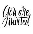 you are invited lettering vector image vector image