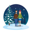 young couple with winter clothes in snowscape vector image vector image