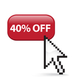 40 Off Button Click vector image vector image