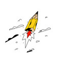 a flying pencil-rocket cartoon flat style yellow vector image vector image