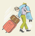 a man carries a tired young girl vector image