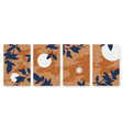 abstract night moon and nature leaves set vector image vector image