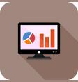 analytics on screen flat long shadow icon vector image vector image