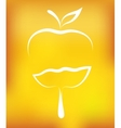 apple with drop on yellow background vector image