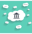 Bank icon and cloud with text vector image
