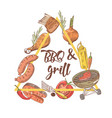 bbq and grill hand drawn design with steak vector image vector image