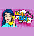beautiful young woman talking on phone vector image