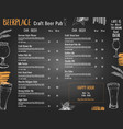 beer menu template for pub or brewery with hand vector image