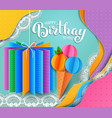 birthday greeting card with ice cream and gift vector image vector image