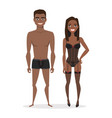 black african american man and woman in lingerie vector image vector image