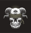 blind skull one eye vector image vector image