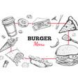 burger menu hand drawn vector image