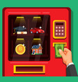 businessman insert money to buy asset in vending vector image vector image