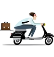 Businessman riding on a scooter vector image vector image