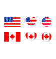 canada and usa flags north america canadian and vector image