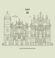 carmelitas church and carmo church in porto vector image vector image
