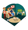 cartoon friends cheering for favourite football vector image vector image