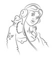 cartoon image of air force woman vector image vector image