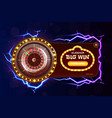 casino poker web banner with roulette chips dice vector image vector image