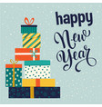 christmas and happy new year gift boxes vector image