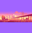 city skyline with buildings and bridge at sunset vector image