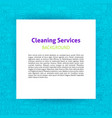 cleaning services paper template vector image vector image