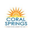 coat arms city coral springs in broward vector image vector image